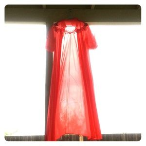Red Sheer Vintage Dressing Gown
